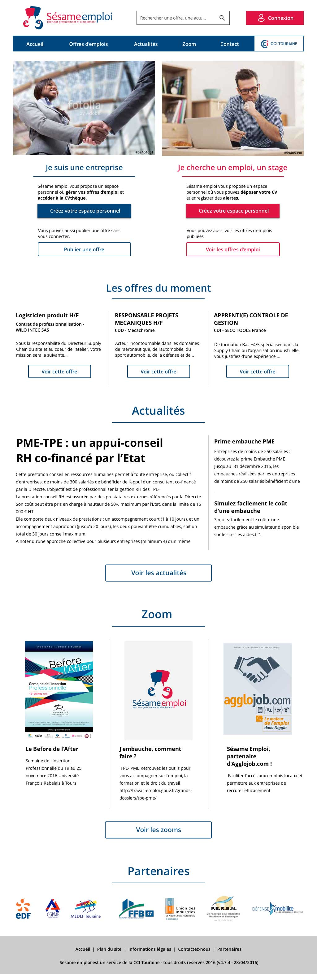 Version Desktop du site Sésame Emploi