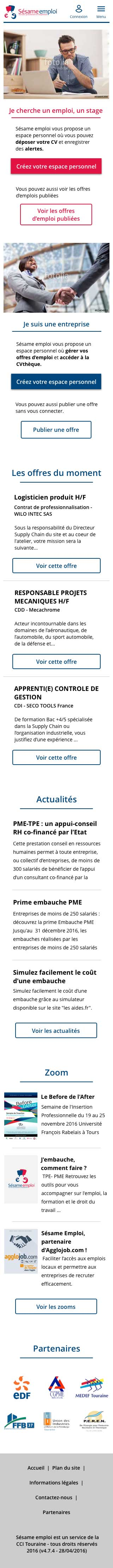 Version Mobile du site Sésame Emploi